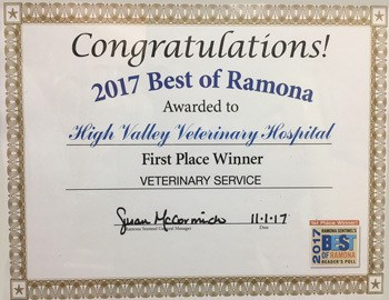 2017 Best of Ramona awarded to High Valley Veterinary Hospital